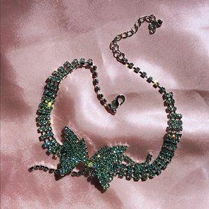 butterfly rhinestone necklace